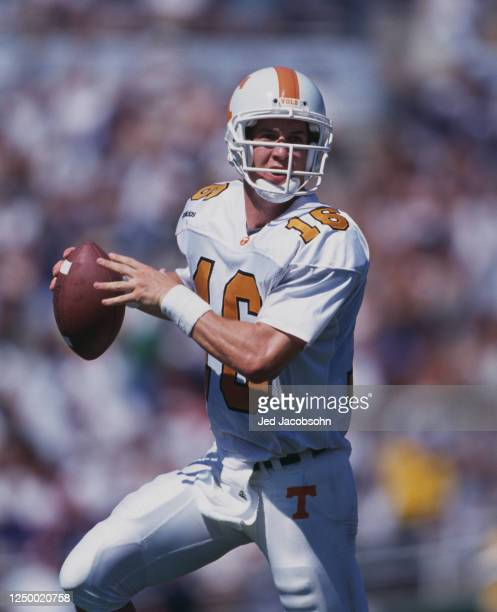 Peyton Manning, Quarterback for the University of Tennessee Volunteers during the NCAA Pac 10 college football game against the University of...