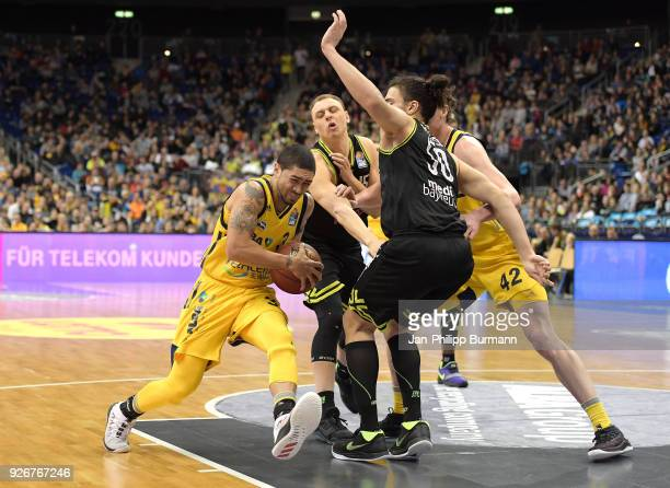 Peyton Siva of Alba Berlin Robin Amaize Assem Marei of medi Bayreuth and Dennis Clifford of Alba Berlin during the easyCredit BBL game between Alba...