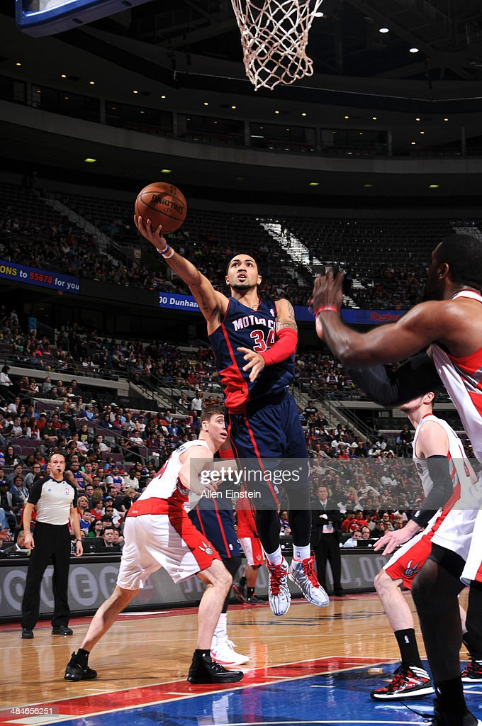 Peyton Siva #34 of the Detroit Pistons goes up for a shot against the Toronto Raptors on April 13, 2014 at The Palace of Auburn Hills in Auburn Hills, Michigan.