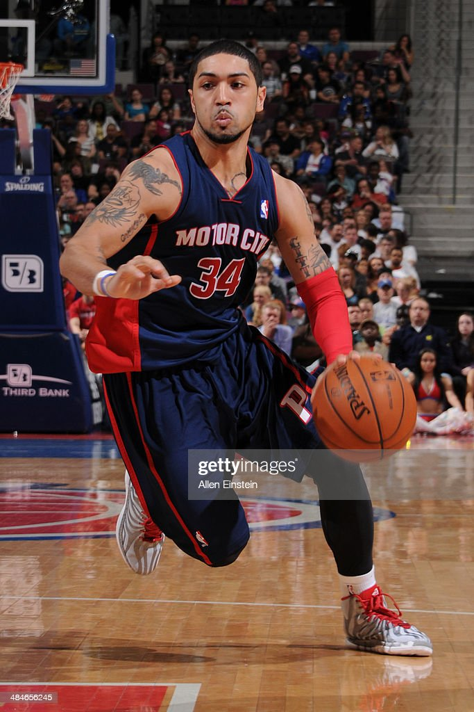 Peyton Siva #34 of the Detroit Pistons handles the ball against the Toronto Raptors on April 13, 2014 at The Palace of Auburn Hills in Auburn Hills, Michigan.