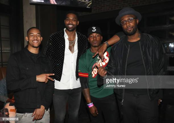 Peyton Smith Tristan Thompson Kris Lofton and Fred Marshall attend Remy Martin Viewing Party At Luchini Pizzeria And Bar on February 17 2018 in Los...
