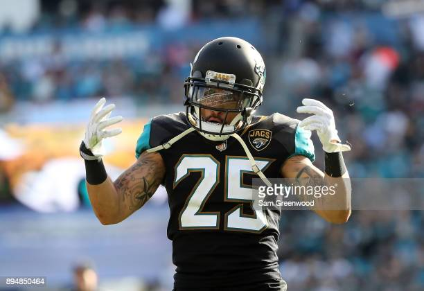 Peyton Thompson of the Jacksonville Jaguars celebrates a play during the second half of their game against the Houston Texans at EverBank Field on...