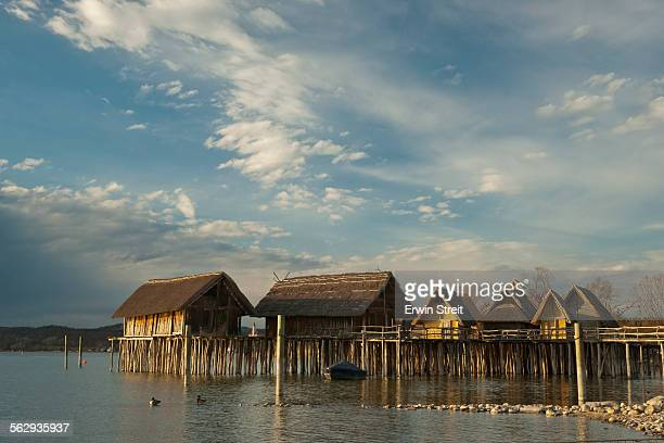 Pfahlbaumuseum, Lake Dwelling Museum, reconstructed pile dwellings from the Stone and Bronze Ages, Unteruhldingen, Lake Constance, Baden-Wuerttemberg, Germany, Europe