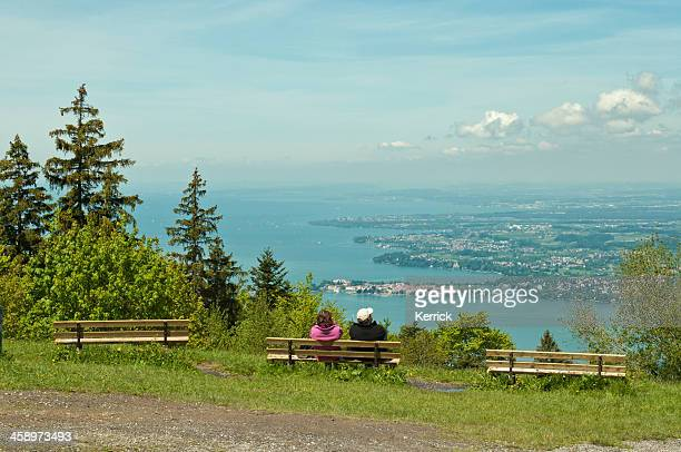pfander with view to lake constance and lindau - vorarlberg stock pictures, royalty-free photos & images