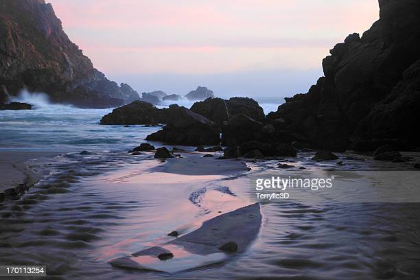 pfeiffer beach rocks, purple sand and sunset - central california stock pictures, royalty-free photos & images