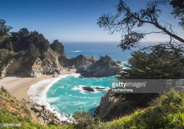 pfeiffer big sur state park beach - mcway falls stock pictures, royalty-free photos & images