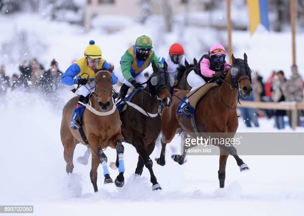 White Turf St Moritz 2014 Flachrennen 800 Meter Alexander Pietsch auf The Art of Racing Daniele Porcu auf Boccalino Andre Best auf Lipocco und Silvia...