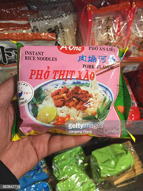 Ph tht xào Instant rice noodles in plastic package Rice flat noodle soup with ground pork sauce Yokohama Kanagawa Prefecture Japan April 15 2015