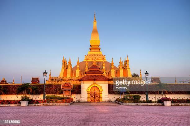 Pha That Luang stupa at sunset, Vientiane, Laos