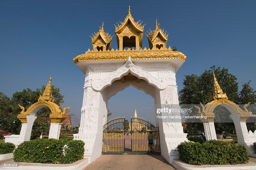 Pha That Luang, Vientiane, Laos, Indochina, Southeast Asia, Asia : Stock Photo
