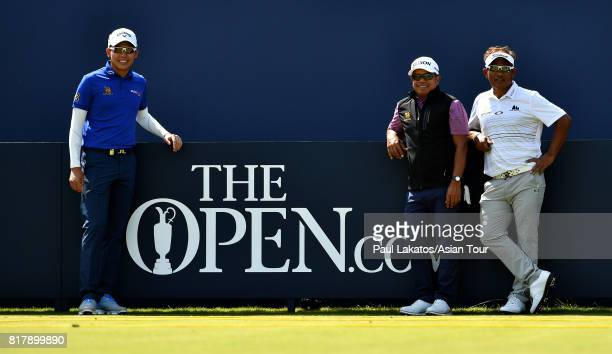 R Phachara Khongwatmai of Thailand Prayad Marksaeng of Thailand and Thongchai Jaidee of Thailand pose for a photo on the 1st tee during a practice...