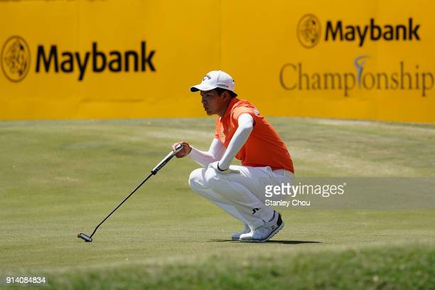 Phachara Khongwatmai of Thailand prepares for a putt during day four of the Maybank Championship Malaysia at Saujana Golf and Country Club on...