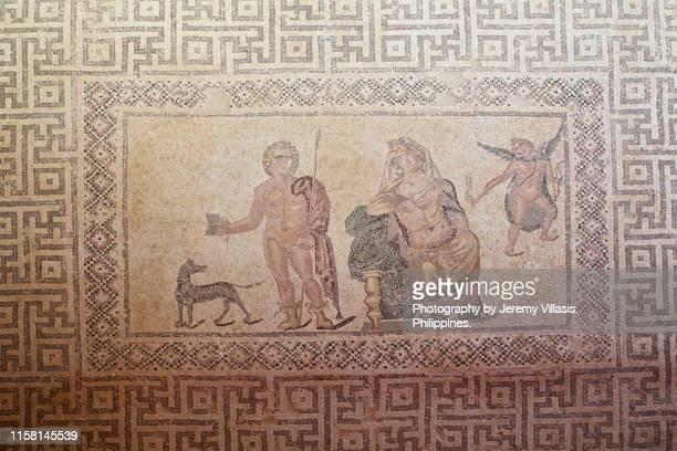 phaedra and hippolytos mosaic, paphos archaeological park - パフォス考古学公園 ストックフォトと画像