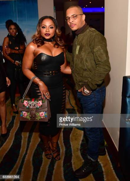 Phaedra Parks and TI attend a Grand Hustle Dinner for Trae Tha Truth at the Oceanaire on February 4 2017 in Houston Texas