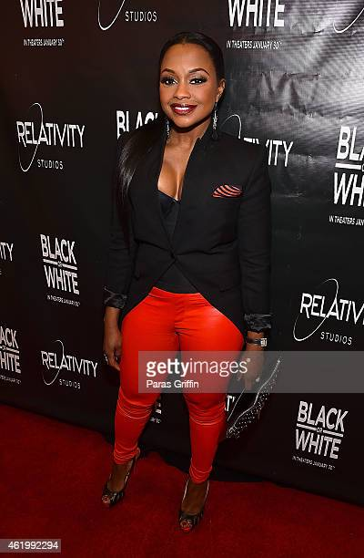 Phaedra Parks attends Black Or White Red Carpet Screening at Regal Atlantic Station on January 22 2015 in Atlanta Georgia