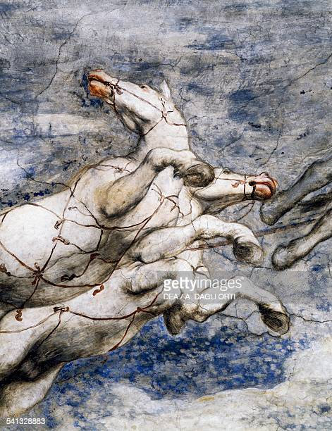 Phaeton in the Sun chariot the crazed horses the loggia centre pane of the vault after 1559 by Girolamo Romani Romanino detail from the frescoes...