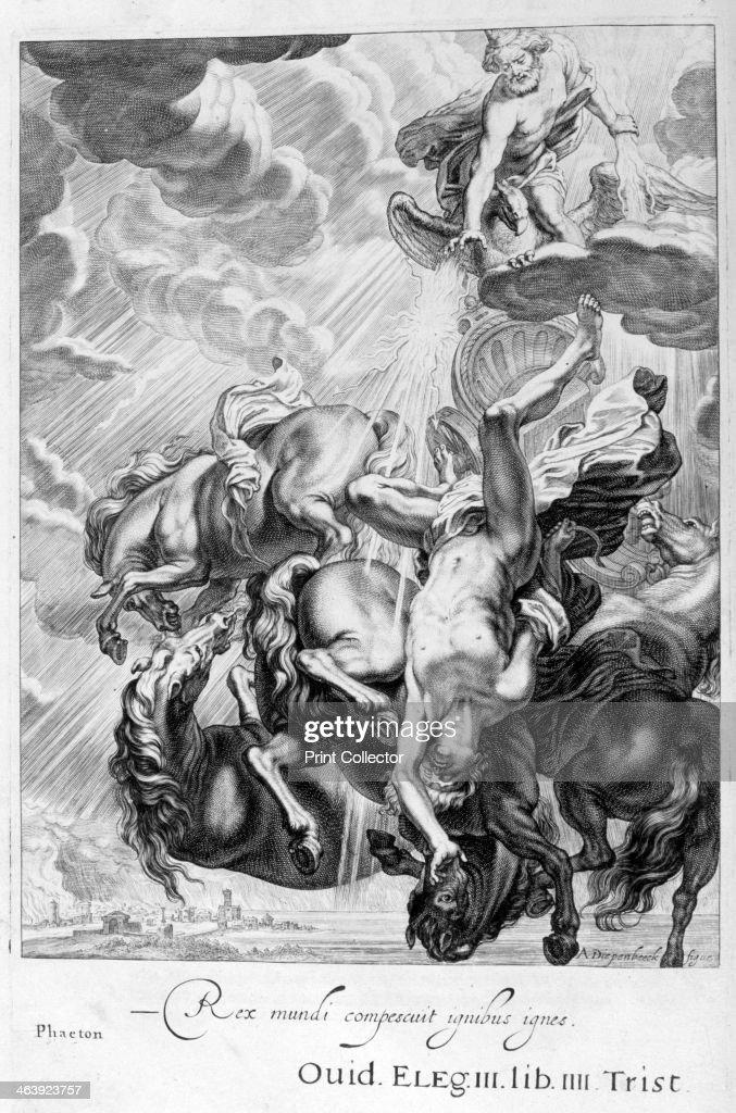 Phaeton struck down by Jupiter's thunderbolt, 1655. Artist: Michel de Marolles : News Photo