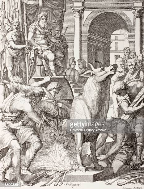 Phalaris The Tyrant Of Acragas Sicily Condemning The Sculptor Perillus To Die In The Bronze Bull He Will Be Roasted Alive And His Cries Will...