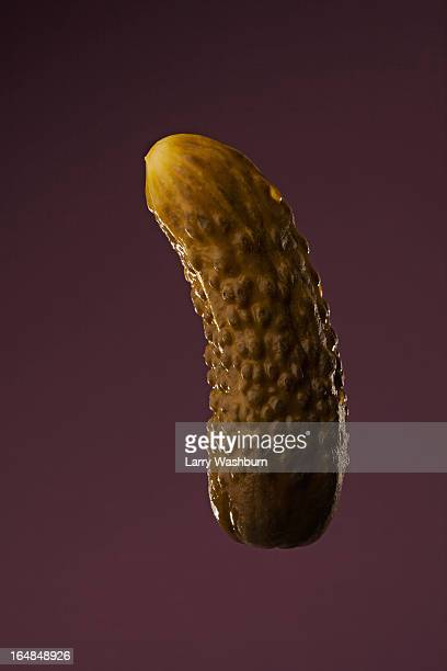 a phallus shaped dill pickle - pickles stock photos and pictures