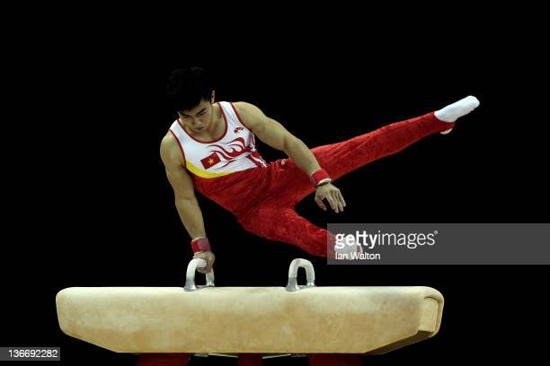 Pham Phuoc Hung of Vietnam in action on the Pommell Horse during day one of the Men's Gymnastics Olympic Qualification round at North Greenwich Arena...