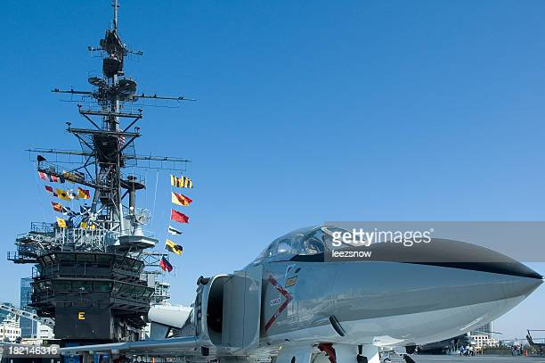 f-4s phantom ii us navy aircraft aboard the uss midway - marine corps flag stock pictures, royalty-free photos & images