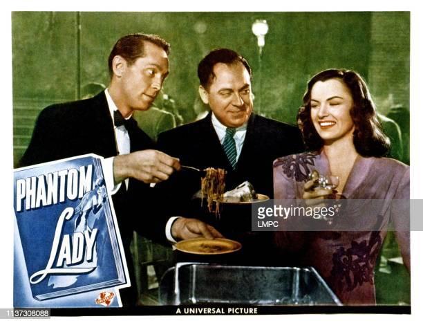 Phantom Lady lobbycard from left Franchot Tone Thomas Gomez Ella Raines 1944
