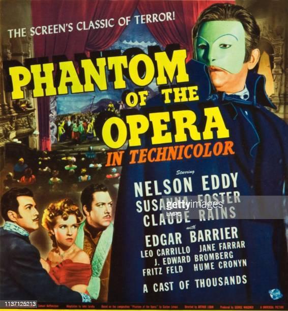 Phantom Of The Opera, poster, l-r: Nelson Eddy, Susanna Foster, Claude Rains on window card, 1943.
