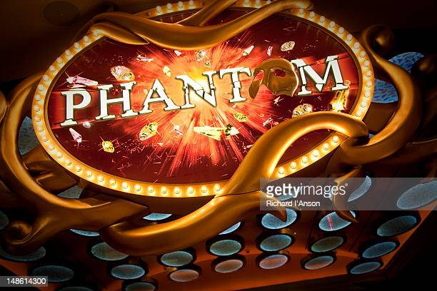 phantom of the opera sign at entrance to theatre. - the phantom of the opera stock pictures, royalty-free photos & images