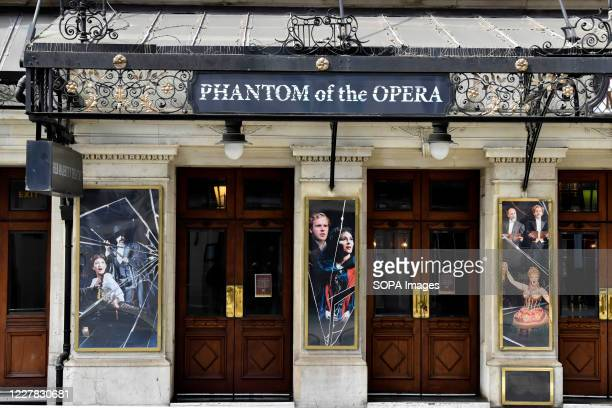 Phantom of the Opera sign on Her Majestys Theatre in Haymarket. The Phantom of the Opera is to permanently close in the West End having run 34 years,...