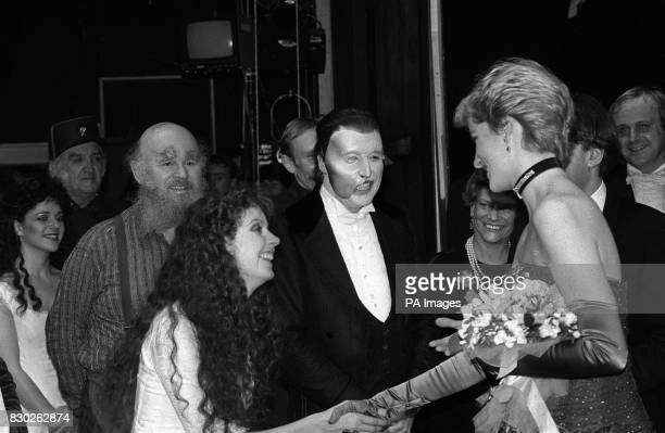 Phantom of the Opera star Michael Crawford and Sarah Brightman meet the Princess of Wales after a charity performance of the hit musical at her...