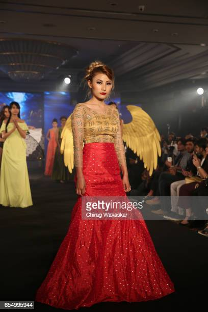 Phapha Gachui walks the runway at the Keith Jackson show during India Intimate Fashion Week at Hotel Leela on March 18 2017 in Mumbai India
