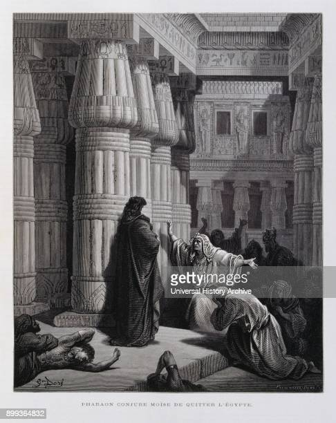 Pharaoh instructs Moses to take the Jewish people out of Egypt Illustration from the Dore Bible 1866 In 1866 the French artist and illustrator...