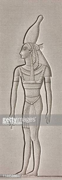 Pharaoh or deity with white crown and ankh, bas-relief inside the palace, Karnak Temple complex, Thebes, Luxor, Egypt, engraving by Charlin after a...