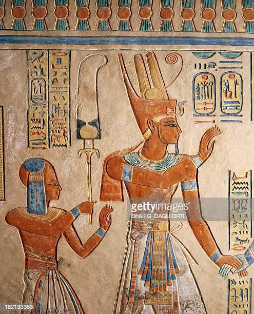 Pharaoh Ramesses III presenting her dead son to the gods painted relief Tomb of Amenherkhepshef also known as Tomb QV55 Valley of the Queens Thebes...