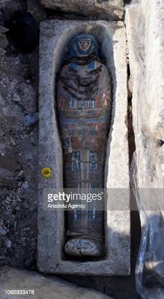 A pharaonicera mummy is seen in Giza Egypt on November 27 2018 Egypts Antiquities Ministry on Tuesday announced that eight pharaonicera mummies had...