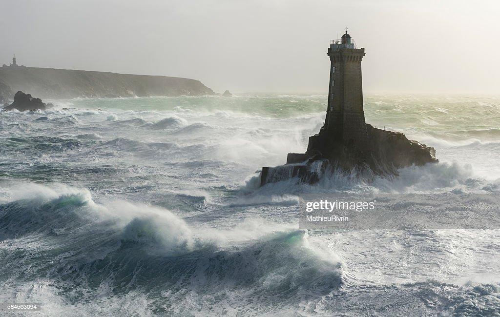 Phare de la Vieille in storm Ruzica : Stock Photo