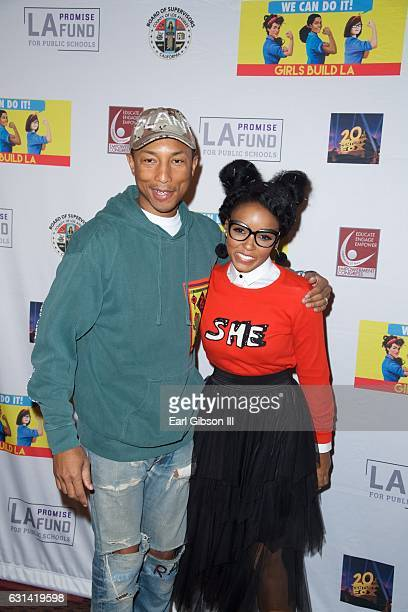 Phareel Williams and Janelle Monáe attend the LA Promise Fund Screening Of Hidden Figures at USC Galen Center on January 10 2017 in Los Angeles...