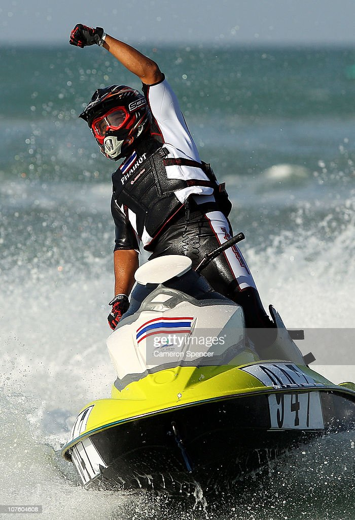 Phariot On-Nim of Thailand celebrates winning race 3 in the Jetski Final at Al-Musannah Sports City during day eight of the 2nd Asian Beach Games Muscat 2010 on December 15, 2010 in Muscat, Oman.