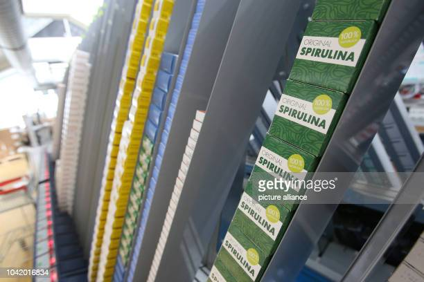 Pharmaceutical products are stacked up in a pharmacy automation system in the logistics centre of the mailorder pharmarcy aporot in Hamburg Germany...