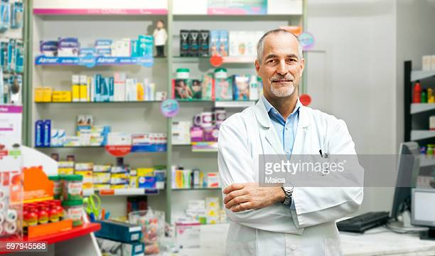 Pharmacist at his pharmacy
