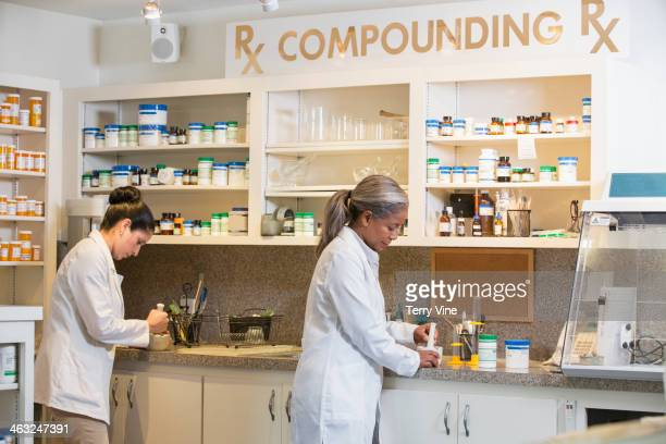 Pharmacists working in compounding pharmacy