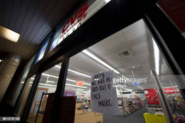 Pharmacy in Mountain View California displays a sign on October 15 showing customers that the store no longer has face mask The fire in North Bay...