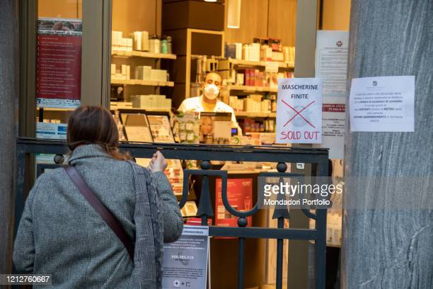 Pharmacy in the historic center during the coronavirus pandemic Milan March 13th 2020