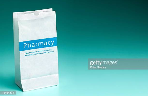 pharmacy prescription bag with copy space - 処方薬 ストックフォトと画像