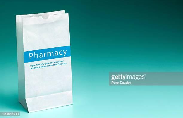 Pharmacy prescription bag with copy space