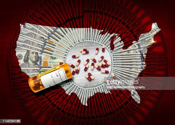 rx pharmacy prescription bottle of pills $100 usa v2 - plague stock photos and pictures