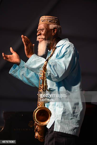 Pharoah Sanders performs on stage at New Orleans Jazz And Heritage Festival on May 2 2014 in New Orleans United States