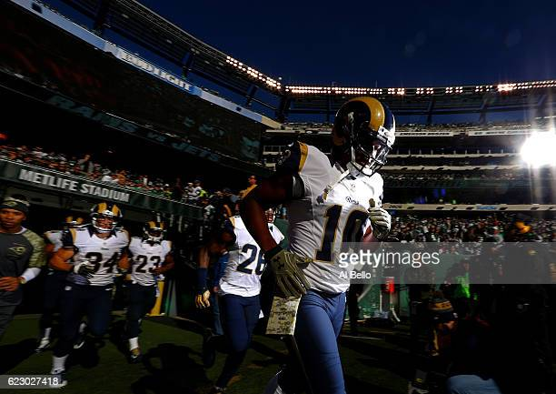 Pharoh Cooper of the Los Angeles Rams and teammates take the field before the game against the New York Jets at MetLife Stadium on November 13 2016...