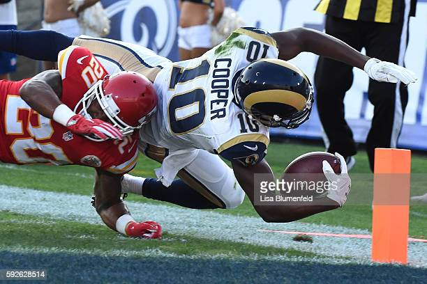 Pharoh Cooper of the Los Angeles Rams scores a touchdown in the second quarter against Steven Nelson of the Kansas City Chiefs at Los Angeles...