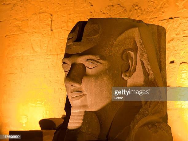 pharoh statue lit up at night - tutankhamen stock pictures, royalty-free photos & images